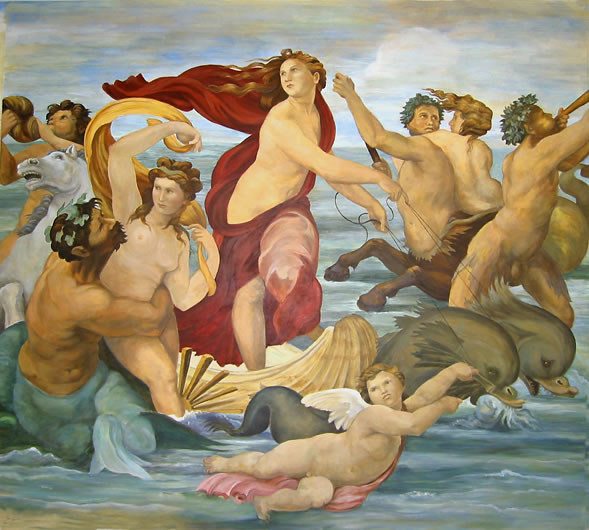 "Mural after Raphael's ""Triumph of Galatea"""